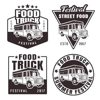 Foodtruck set van vier zwarte emblemen