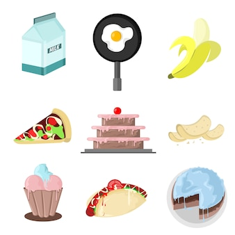 Foody drawing vector illustration grafische set