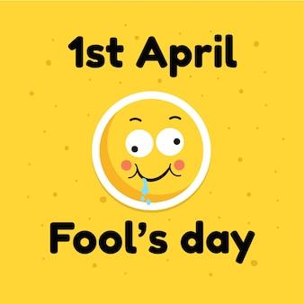 Fool day april-de kaartbanner van de vakantiegroet grappig emoticongezicht, vlakke illustratie op geel
