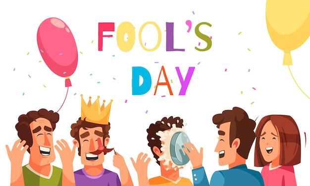 Fools day wenskaart met bewerkbare tekst en doodle karakters van lachende mensen met ballonnen en confetti