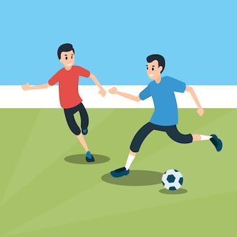 Football match two players sport championship