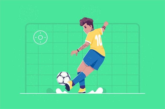Football-speler die de bal schopt