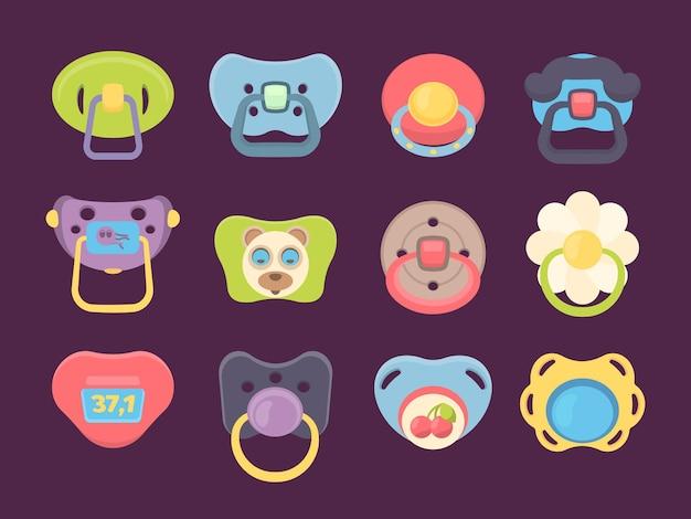 Fopspeen. accessoires voor pasgeboren kinderen grappige gekleurde siliconen fopspenen vector set. illustratie babyfopspeen, teddy speelgoed uit de kindertijd om te slapen