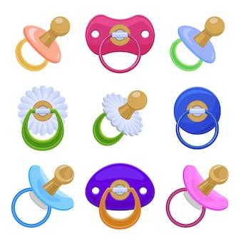 Fopspeen iconen set, cartoon stijl