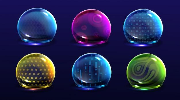 Forceer schildbellen, gloeiende bollen met kleurenenergie of verdedigingskoepelvelden. science fiction verschillende deflectorelementen, geïsoleerde absolute bescherming firewall