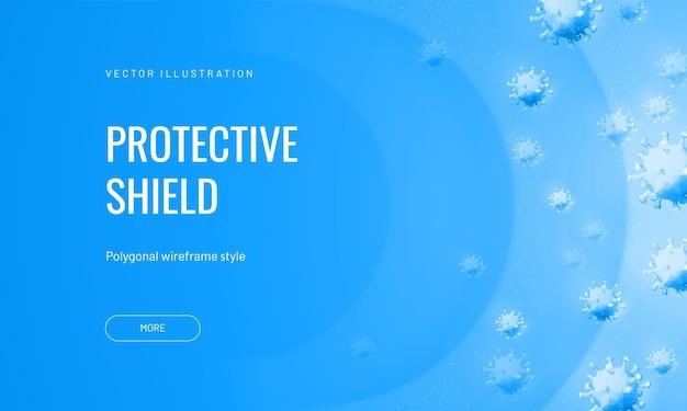 Forceer veld van virussen in abstracte veelhoekige stijl op een lichte achtergrond. vectorillustratie van bescherming tegen een besmettelijk agens. virusschild of luchtstroom met bacteriofagen