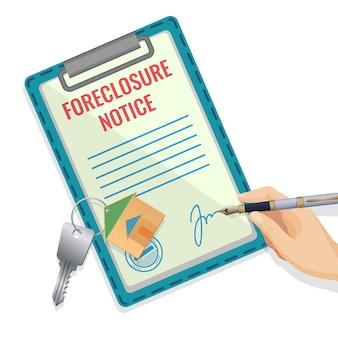 Foreclosure documentpatroon met hand en handtekening