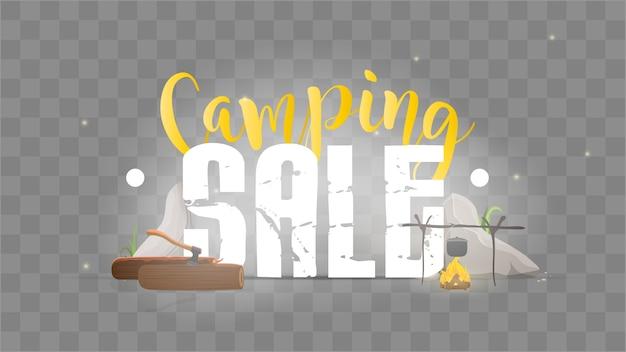 Forest camp belettering. sjabloon voor een banner. lettertype met campingelementen. vreugdevuur, eten op een vuur, houtblokken