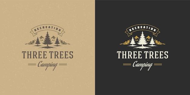 Forest camping logo embleem buitenwandeling berg- en pijnbomen