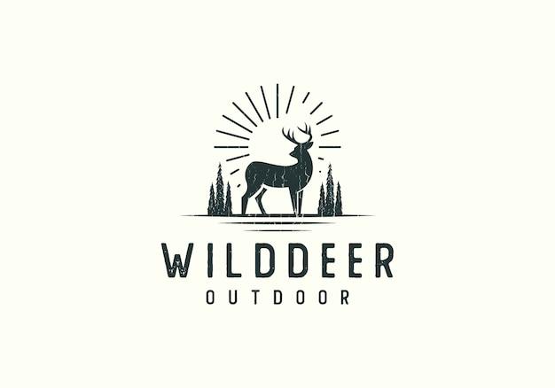 Forest deer adventure-embleemillustratie