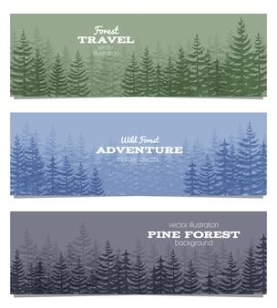 Forest horizon banners set met pijnbomen