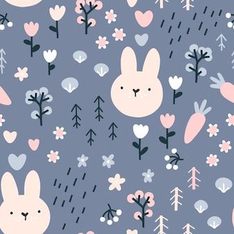 Forest konijn naadloze patroon.