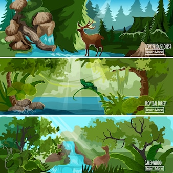 Forest landscape horizontal banners set