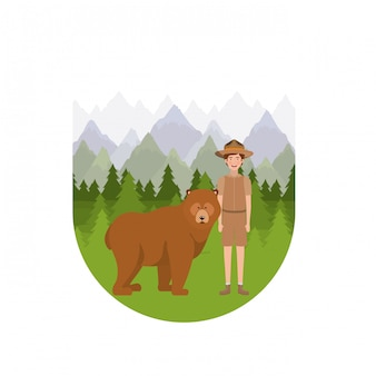 Forest ranger jongen cartoon