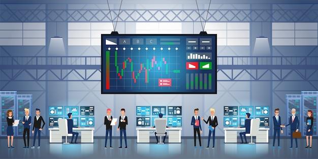 Forex beurs grafiek global business concept succesvol team groep jonge mensen uit het bedrijfsleven werken samen groot scherm met beurs handel grafiek en kandelaar grafiek