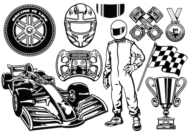 Formula racing set zwart en wit
