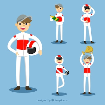 Formule 1 pilot-karakterverzameling met plat ontwerp
