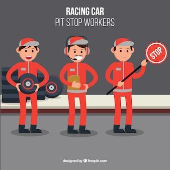 Formule 1 pitstopwerkers met plat ontwerp
