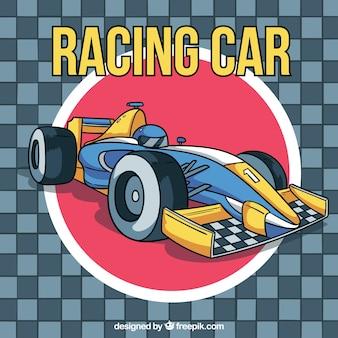 Formule 1 raceauto in de hand getrokken stijl