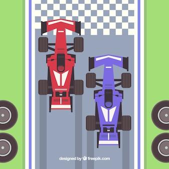 Formule 1-raceauto's bij de finishlijn met bovenaanzicht