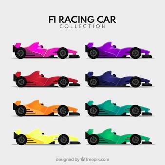 Formule 1 raceauto's in verschillende kleuren