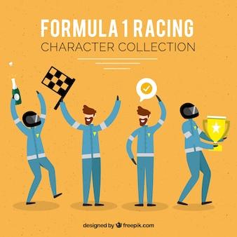Formule 1 racing karaktercollectie met plat ontwerp