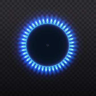 Fornuis met brandend gas. gasbranders, blauwe vlam, bovenaanzicht geïsoleerd op een transparante achtergrond.
