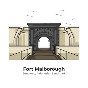 Fort malborough indonesische oriëntatiepunt leuke lijn illustratie