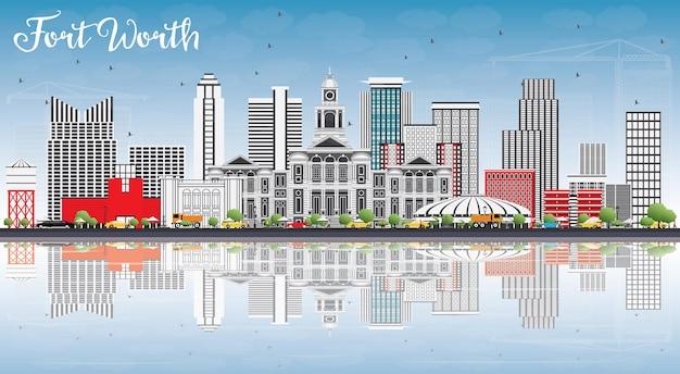 Fort worth skyline met grijze gebouwen, blauwe lucht en reflecties. vectorillustratie. zakelijk reizen en toerisme concept met moderne architectuur. afbeelding voor presentatiebanner plakkaat en website.