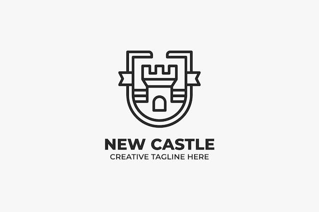 Fortress castle kingdom monoline bedrijfslogo