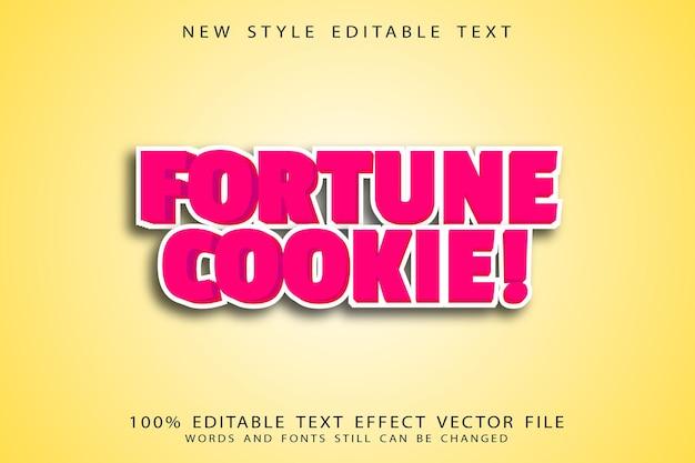 Fortune cookie bewerkbare teksteffect reliëf cartoon stijl