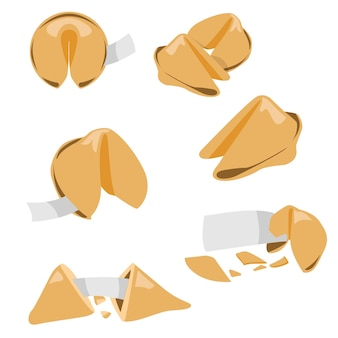Fortune cookie vector set