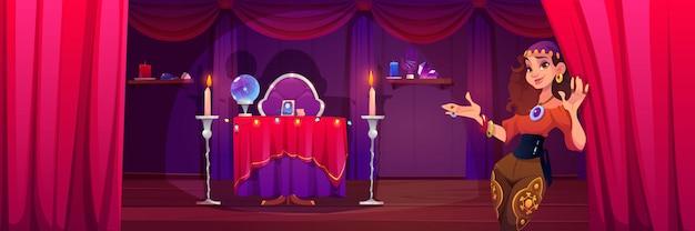 Fortuneteller zigeunervrouw uitnodigt in mystieke kamer