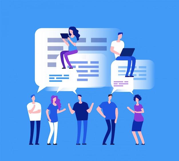 Forum . mensen uit het bedrijfsleven in webchat. teamopmerkingen en beoordelingsconcept