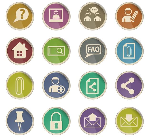 Foruminterface vectorpictogrammen in de vorm van ronde papieren etiketten