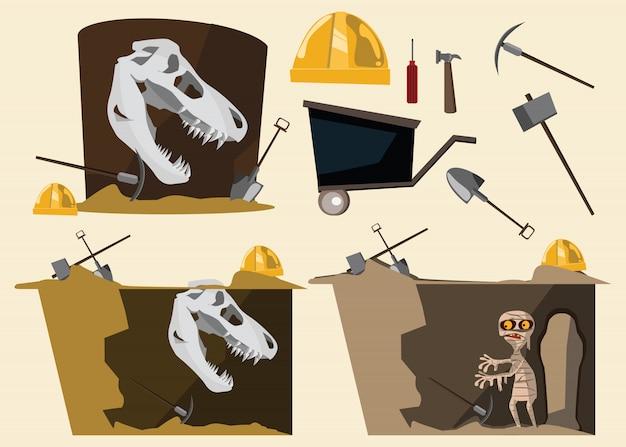 Fossiel en mummie en gereedschap instellen vectorillustratie