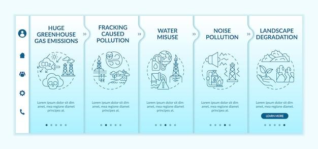 Fossielvrije wereld onboarding-sjabloon. responsieve mobiele website met pictogrammen. dioxine vervuiling. doorloopstapschermen voor webpagina's. verantwoordelijkheid voor het milieu.
