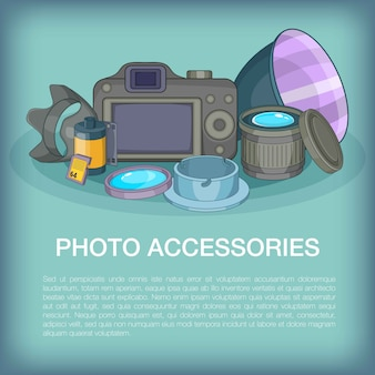 Foto accessoires concept, cartoon stijl
