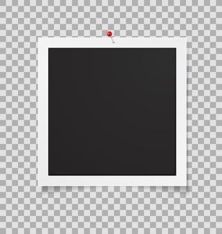 Foto afbeeldingsframe 3d pictogram met punaise geïsoleerd