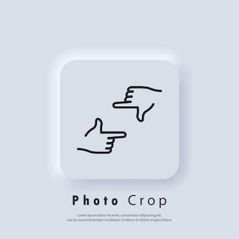Foto bijsnijden pictogram. handen frame bijsnijden gebaar pictogrammen. handen met fotocamera sluiter. director's handgebaar van proces van filmproductie. vector eps 10. neumorfe ui ux