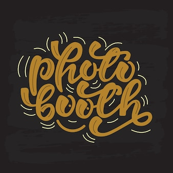 Foto booth belettering. vector illustratie.