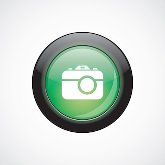 Foto camera glas teken pictogram groene glanzende knop. ui website knop