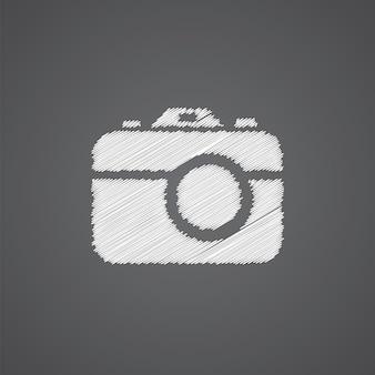 Foto camera schets logo doodle pictogram geïsoleerd op donkere achtergrond