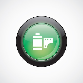 Foto film glas teken pictogram groene glanzende knop. ui website knop