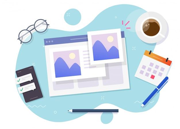 Foto foto online album en digitale galerij kijken op website service of internet elektronische fotografie afbeeldingen bestanden op werkplek tafel bureau cartoon illustratie