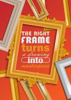 Foto frame poster illustratie. filets kopen in winkel of winkel. vintage gouden en witte lijsten voor spiegels, schilderijen. rechter frame verandert tekening in meesterwerk.