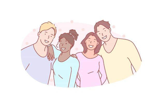 Foto, groep, vriend, glimlach, illustratie