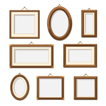 Foto houten fotolijsten. fotografie frame decoratie lege set. illustratie