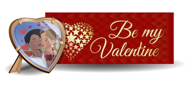 Foto in het frame op de achtergrond. wees mijn valentijn. verliefde stelletjes. jongen en meisje kussen. valentijnsdag