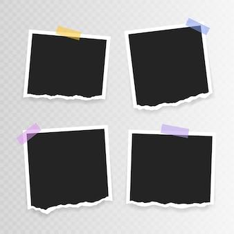 Foto lijstje . super set fotolijst met gescheurd papier op plakband op transparante achtergrond. vector illustratie.